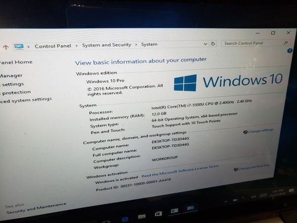 HP Pavilion 15-ab173cl Intel Core i7 Touchacreen Laptop 12GB 2TB
