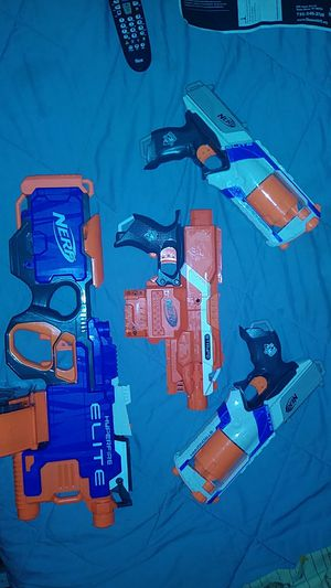 4 nerf toy foam dart guns barely used BEST OFFER for Sale in Toms River, NJ