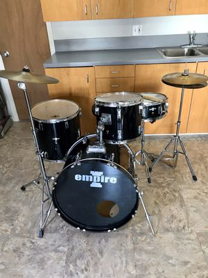 4 piece Empire black beginners drum set drums cymbals hihat bass pedal throne complete kit Ontario 91762 $175 for Sale in Chino, CA
