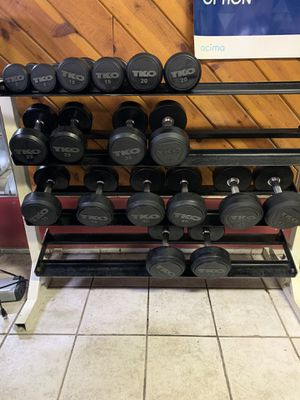 Dumbbells- Solid Steel Rubber Encased 5, 15, 20, 25, 30, 35, 40, 45 & 50 lbs pairs for Sale in Bellflower, CA