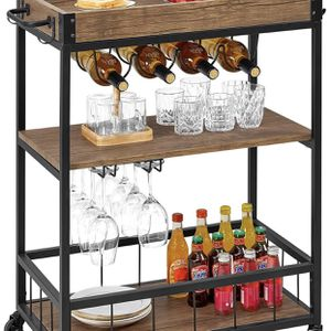 kealive Bar Cart for Home Mobile Metal Wood Wine Cart on Wheels with Handle Rack, Glass Holder, 4 Hooker Removable Wood Box Container, Industrial Rus for Sale in Rosemead, CA