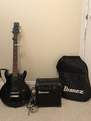 Ibanez electric guitar, amplifier, cords, and case for Sale in Washington, DC