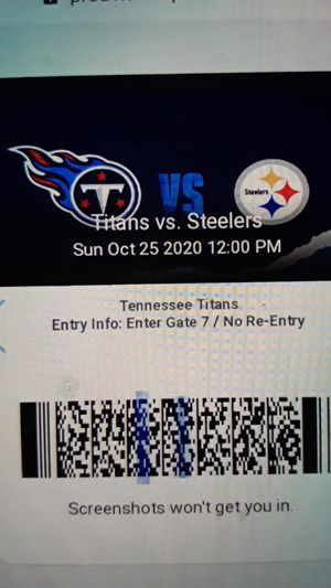 Steelers, Titans this Sunday 321 seat 8,9 lower section 350.00 for Sale in Nashville, TN