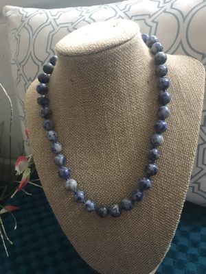 Blue and White Lápiz Lazuli Blue and White Stone Necklace for Sale in Upland, CA