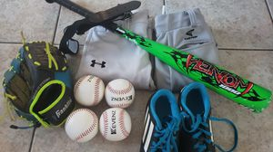 Baseball set- 2 pants, bat, belt, size 1 cleats, glove and balls for Sale in Homestead, FL