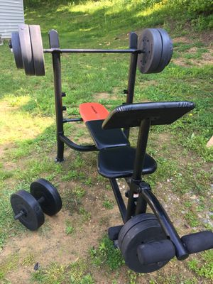 Weight Bench with 180lbs in weights for Sale in Thornville, OH