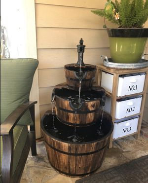 3 Tier Apple Barrel Water Fountain Wood Rustic Country Electric Outdoor Fountains Cast Iron Pump for Sale in Sacramento, CA
