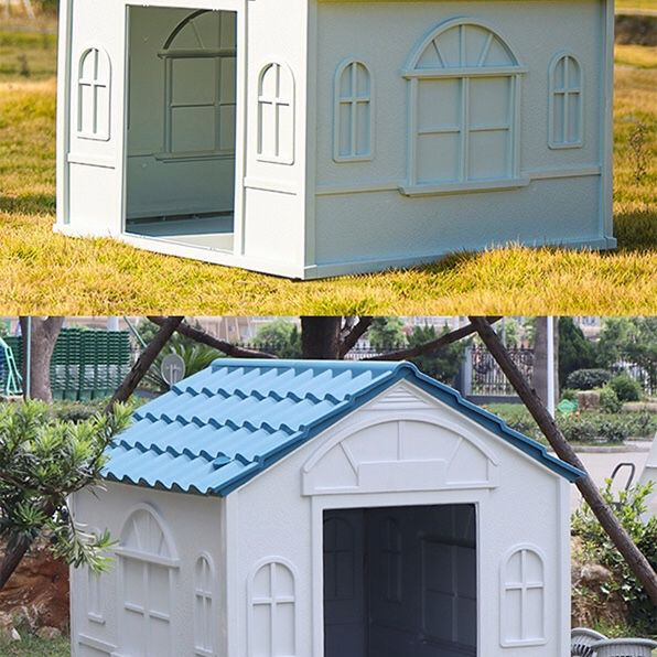 """Brand New $85 Plastic Dog House Medium/Large Pet Indoor Outdoor All Weather Shelter Cage Kennel 39x33x32"""""""