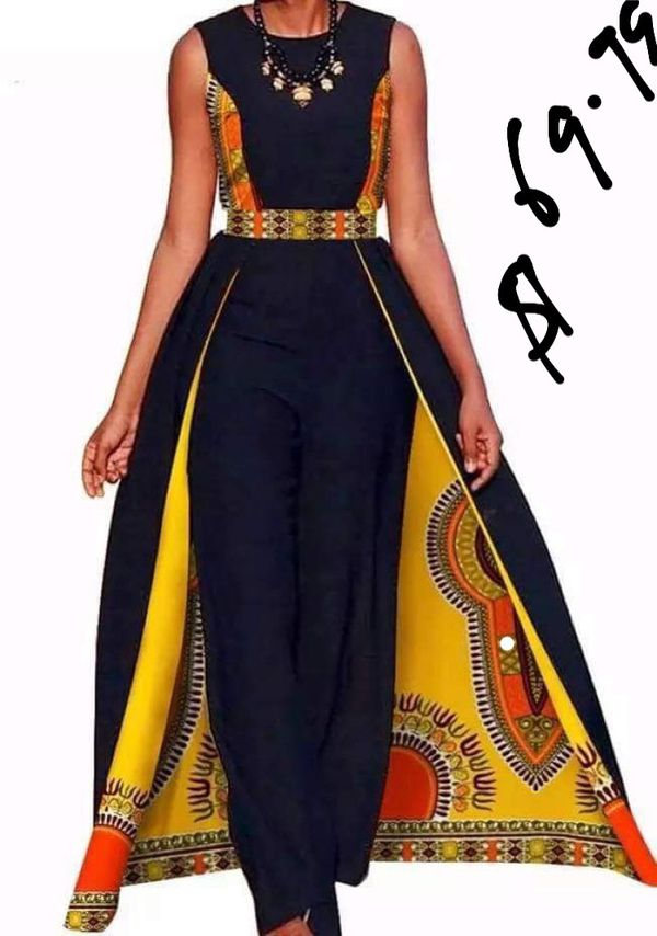 African one piece jumpsuit with cape