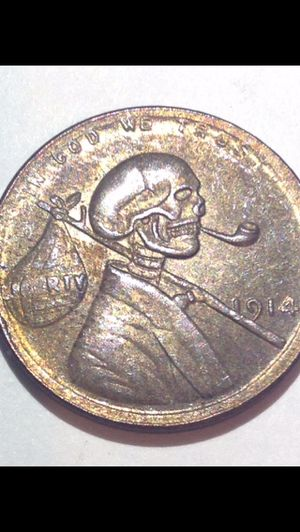 CRAZY Modified Scary Skull 1914 Wheat Penny- Extreme Detail & Craftsmanship- Very Scarce Unusual Coin for Sale in Fairfax, VA