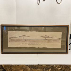 Massive 1999 Famous Bridges Dayton Hudson Brooklyn Bridge Architectural Drawing Print for Sale in Spring Hill, FL