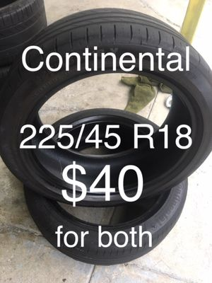 2 Continental tires 225/45 R18 for Sale in San Lorenzo, CA