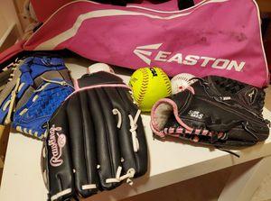 Everything you need to start your Little Leaguer in Baseball! Baseballs, softball, baseball gloves, bat, bag for Sale in Miami, FL