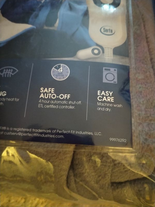 "Serta | Reversible Sherpa/Fleece Heated Electric Throw Blanket, 50""x60"" With 5 Setting Controller"