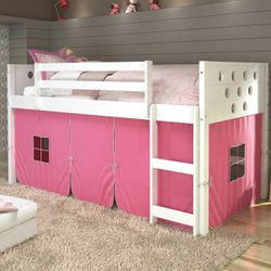 Donco Kids Circles White Low Loft Twin Bunk Bed With Pink Tent for Sale in Missouri City,  TX