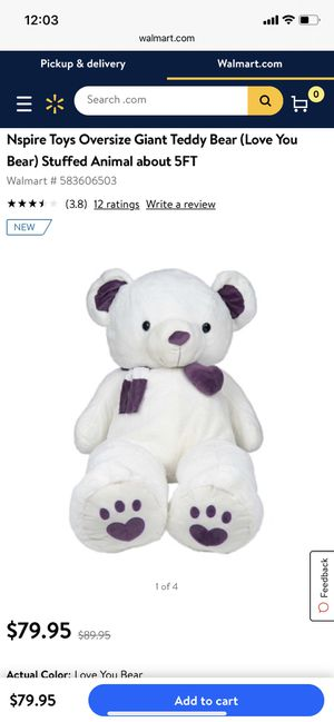 Oversize Giant Teddy Bear (Love You Bear) Stuffed Animal about 5FT for Sale in Corona, CA