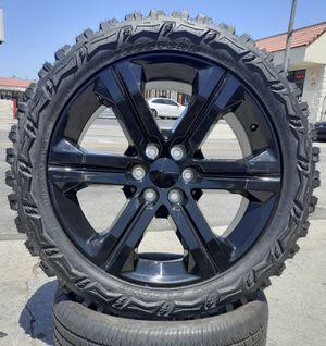 "22"" Chevy Silverado GMC Sierra Wheels & Tires of 33"" 33x12.50R22 Mud-Terrain M/T Tires Tahoe Yukon Escalade ((No need to Lift)) setof4 for Sale in Los Angeles, CA"