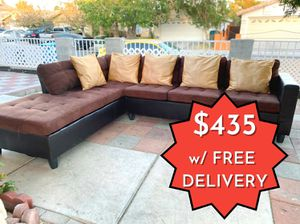 Chocolate Brown Faux Leather & Fabric Sectional Couch / Sofa for Sale in Las Vegas, NV