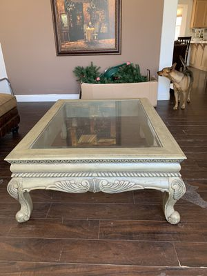 Light wood and glass coffee table. Perfect condition no scratches or chips for Sale in Hesperia, CA