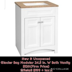 New Glacier Bay Modular 24.5 in. W Bath Vanity in White with Solid Surface Technology Vanity Top in Cappuccino with White Sink ☆Retail $199 + tax☆ for Sale in Phoenix, AZ