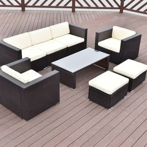 Brown Rattan Furniture 8 Pieces Outdoor Patio Cushioned Sofa Chairs Ottomans Coffee Table for Sale in Sacramento, CA