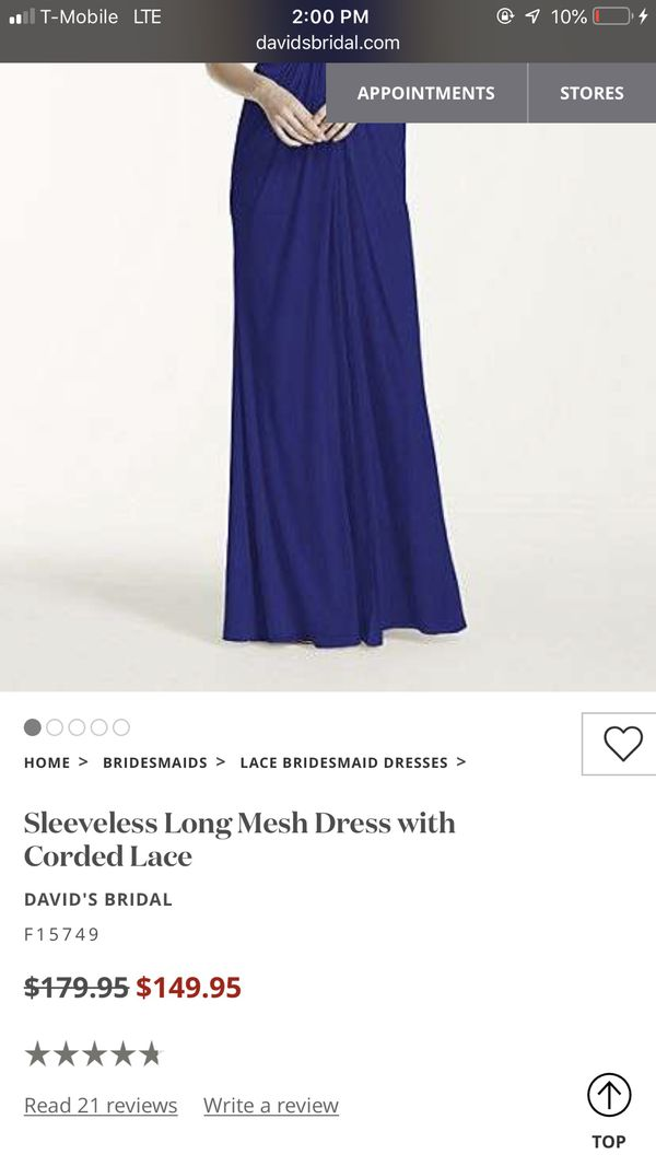 Navy long bridesmaid dress - David's Bridal size 8