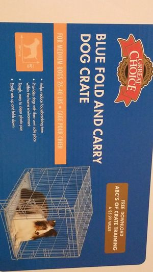 Blue fold and carry dog crate for Sale in Chelsea, MA