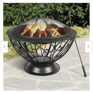 NEW!28.5 in. x 20.9 in. Round Metal Wood Burning Fire Bowl BBQ Grill Outdoor Fire Pit with Mesh Spark Screen Cover for Sale in Ontario, CA