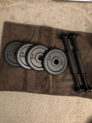 Weights Set - 15 lbs Adjustable Dumbbells - 30 lbs total - Standard sized weight plates and handles for Sale in Los Angeles, CA