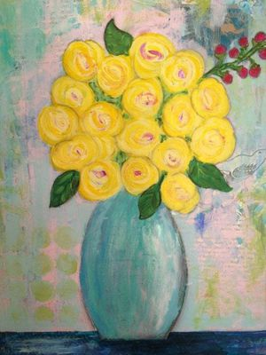 Acrylic Canvas Painting - Flowers for Sale in Brookline, MA