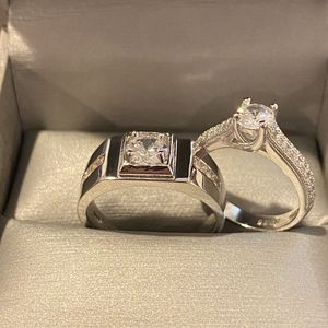 Luxury Round Solitaire 925 Sterling Silver Engagement Ring Set for Sale in Houston, TX