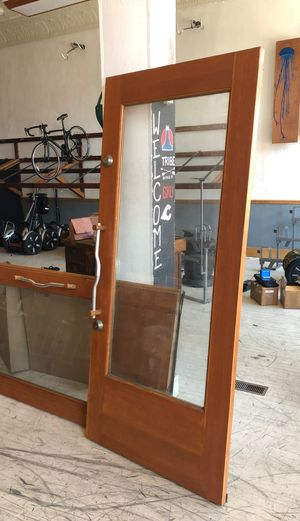 Wood and glass double doors for Sale in Columbus, OH