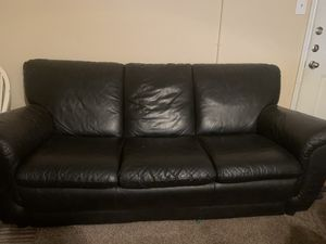 Black leather couch for Sale in Pasadena, TX