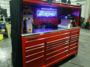 snap on tool box triple bank with stainless steel top also comes with cover make me an offer for Sale in Burlington, NJ