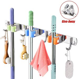 KURTVANA Mop Broom Holder Wall Mount Organizer Storage, Easy Install Screws or Self Adhesive Stainless Steel Tools Hanger for Sale in Altamonte Springs, FL