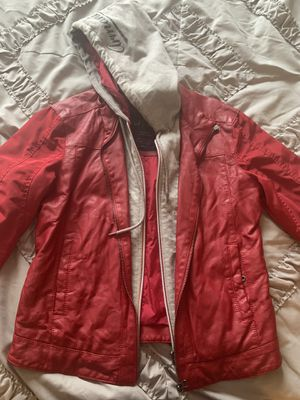 Red leather/ hoodie Armani jacket for Sale in Union City, GA