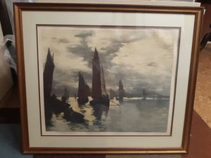 Glass framed sail boat painting signed vintage antique for Sale in Calverton, MD