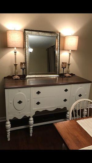 Antique buffet, lamps, mirror for Sale in Atlanta, GA
