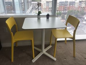 IKEA melamine table and 2 yellow chairs for Sale in Bellevue, WA