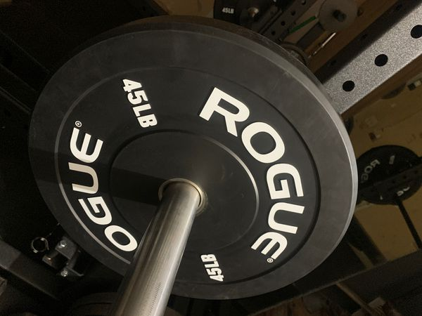 Pair of new rogue echo 45lb bumper plates