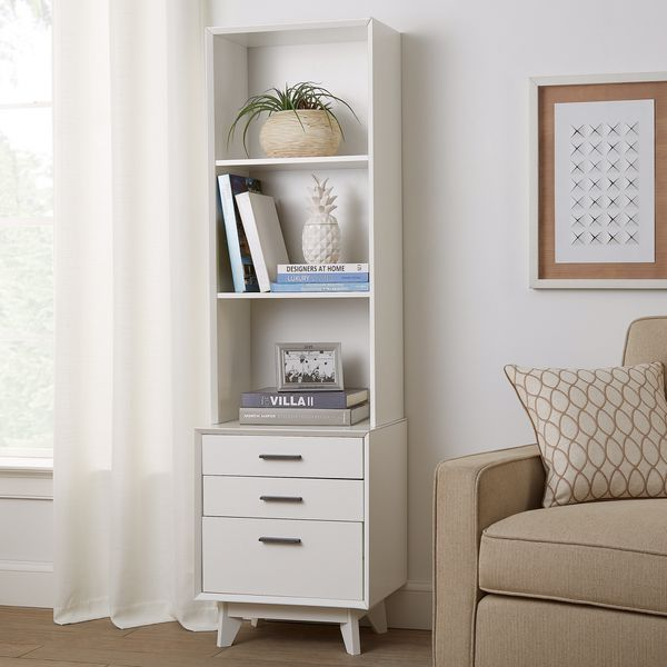 Mainstays Reeve Mid-Century 3-Drawer Tower Bookcase, White