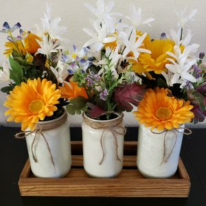 Flowers With Vases And Wooden Tray for Sale in Plano, TX