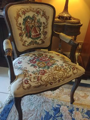 Antique Carved Wood Chair w/ Lovely Stitched Victorian Couple with Romantic Florals through out for Sale in Greenacres, FL