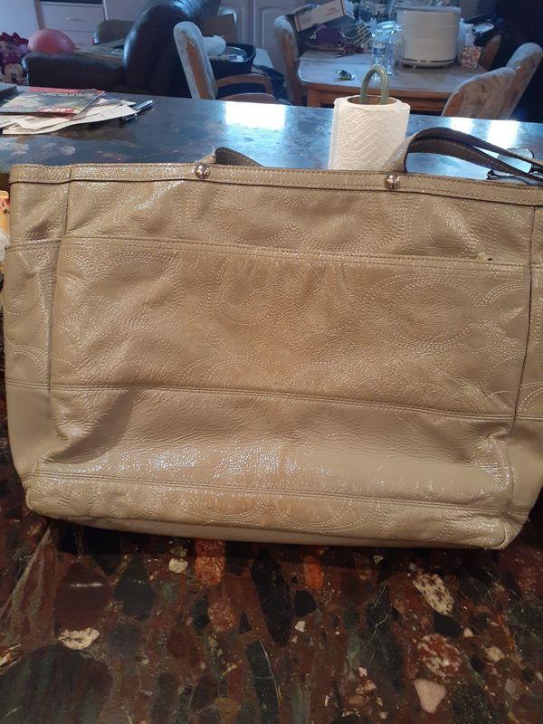 Large Coach purse - beige color