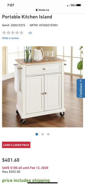 BRAND NEW KITCHEN ISLAND... MOBILE CART for Sale in Gahanna, OH