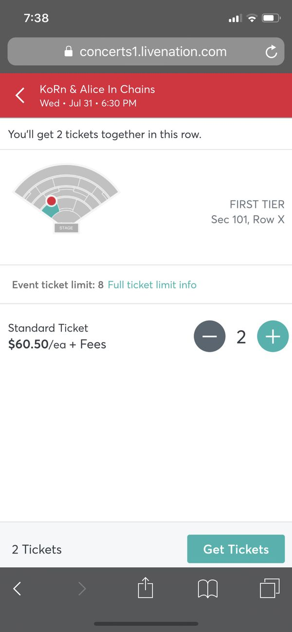 Alice In Chains & Korn Tickets