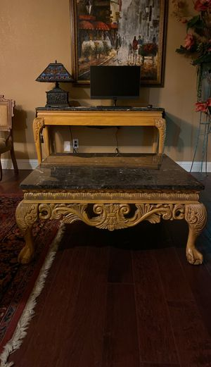 Solid wood with marble top center table , side table and console table for Sale in Fresno, CA