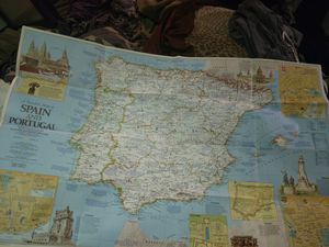 """National Geographic vintage map """"A Travelers Map of Spain and Portugal"""" for Sale in Tacoma, WA"""