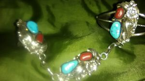 Vintage Navajo Slave bracelet. 925 w/turquoise and red corral for Sale in Portland, OR