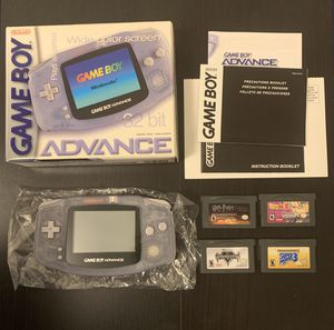 Gameboy Advance AGB-001 Glacier Clear with games for Sale in Los Angeles, CA